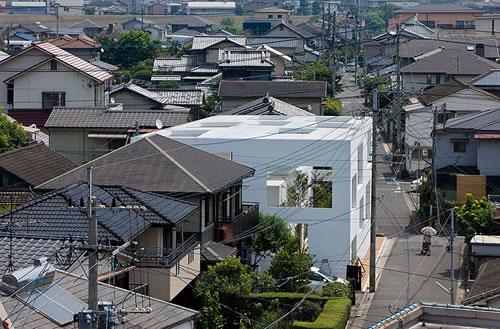 Снимка от птичи поглед на къщата с дървета и двор вътре в нея.